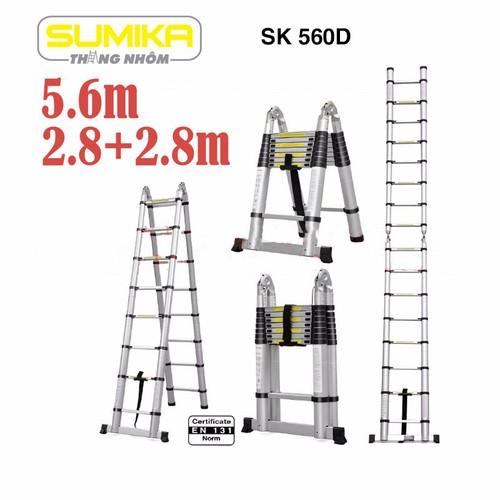 Thang rút nhôm đôi Sumika SK 560D - 2,8m chữ A