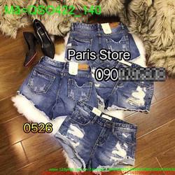 Quần jean short nữ túi rách cá tính màu xanh bạc thời trang QSO422