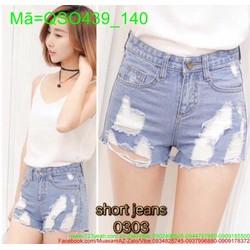 Quần jean short nữ rách lưng cao xanh nhạt cá tính thời trang QSO439