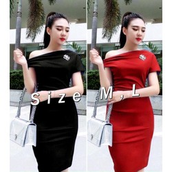 Đầm body trể vai đính tag Bạch Nguyễn