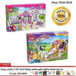 Combo 2 xếp hình lego dự tiệc+ cửa hàng mỹ phẩm| xếp hình lego
