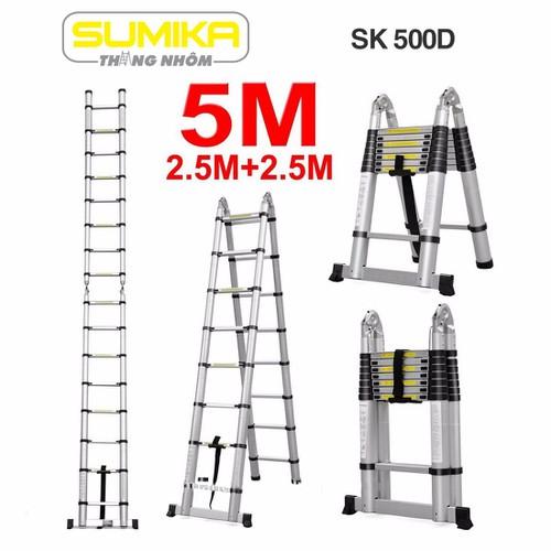 Thang rút nhôm đôi Sumika SK 500D - 2,5m chữ A
