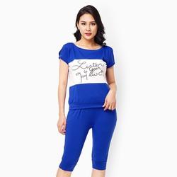 Sét quần lửng áo cổ tròn màu xanh coban size M