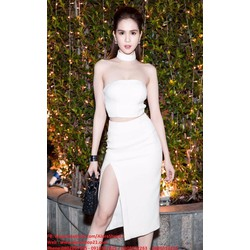 Chuyên sỉ - Set áo crop top và chân váy xẻ tà trắng như Ngọc Trinh