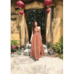 Đầm maxi bông cổ yếm viền ren phối cực yêu hàng thiết kế độc quyền