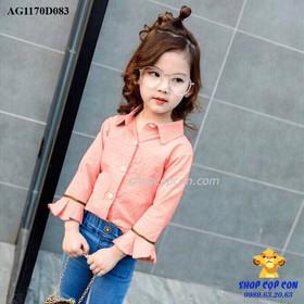 Size 9-14. Áo somi tay loe màu hồng dâu - AG1170D083