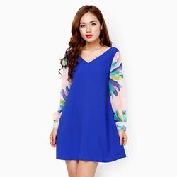 Đầm suông phối tay voan màu xanh coban size L