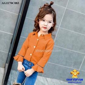 Size 9-14. Áo somi tay loe màu cam đất - AG1170C083