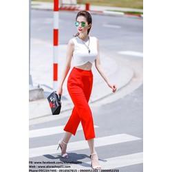 Chuyên sỉ - Áo crop top trắng cut out phối quần lửng đỏ như Ngọc Trinh