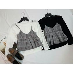 Set áo yếm caro cute