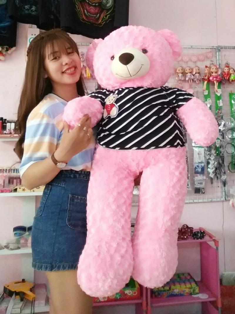 Gấu Bông Teddy Màu Hồng 1m2 2