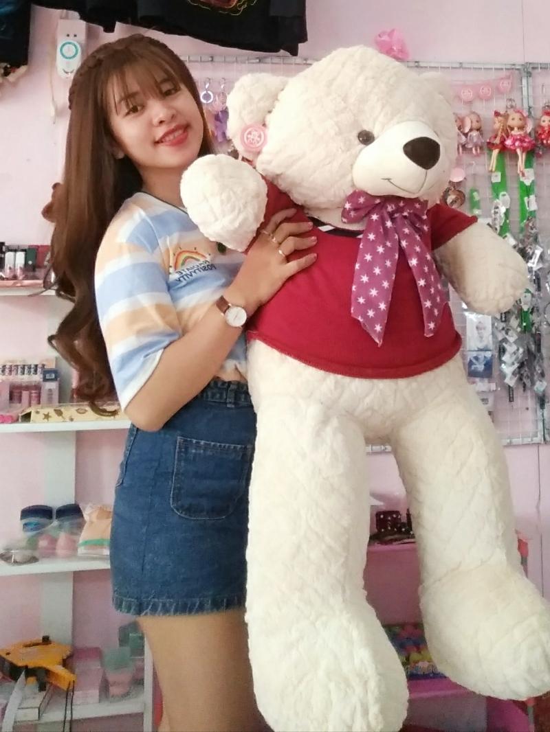 Gấu Bông Teddy Màu Kem 1m2 1