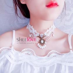 Vòng choker ren trắng đính đá và ngọc trai thời trang cổ điển N3048