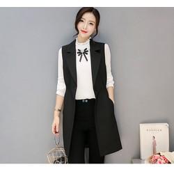 Áo khoác đen trơn kiểu ghi lê TB0498 cotton - m - đen