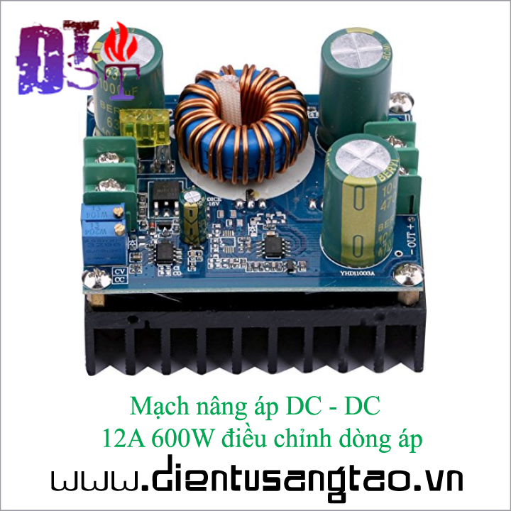 Mạch nâng áp DC - DC  12A 600W điều chỉnh dòng áp 3