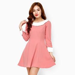 Đầm xòe màu hồng đào viền cổ trắng size M