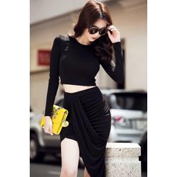 Chuyên sỉ - Bộ áo kiểu croptop và chân váy ôm body vạt xéo cá tính