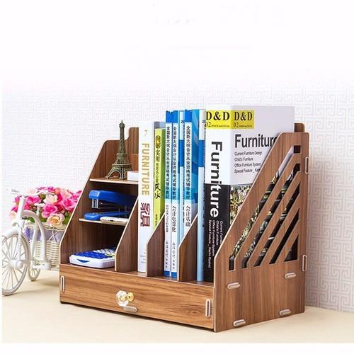 giá để sách - Kệ sách để bàn 3 ngăn có 1 ngăn kéo - kệ giá sách