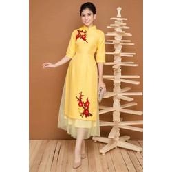 sét áo dài gấm kèm chân váy ren cao cấp