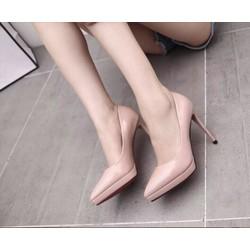 Giày cao gót đế đúp mũi nhọn - kem