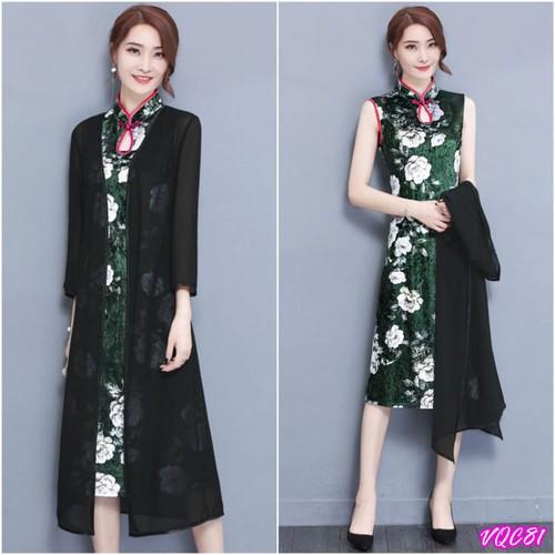 Hàng Nhập: Đầm trung hoa in họa tiết kèm áo khoác ngoài VQC81
