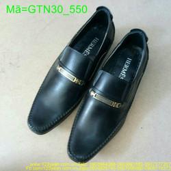 Giày tây nam công sở da đen phối khóa ngang vàng sang trọng GTN30