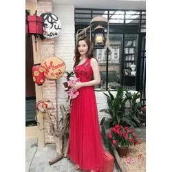 Đầm dạ hội lệch vai thêu họa tiết hoa đào hàng thiết kế độc quyền