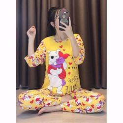 bộ thun mặc nhà tay dài quần dài hoạt hình xinh xắn