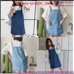 Yếm váy jean nữ hai túi đáng iu xinh xắn QYB291