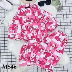 Bộ Đồ Pijama Ngắn Hoạt Hình Mèo