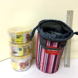 bộ hộp cơm 3 hộp nhựa tròn trong túi giữ nhiệt tròn vải bố. v747