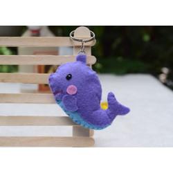 Móc khóa handmade cá heo bằng vải nỉ