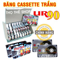 Hộp 10 băng cassette trắng MAXELL UR90 - Made in Indonesia