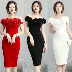 Đầm body trễ vai hoa hồng cao cấp