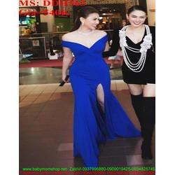 Đầm dạ hội kiểu bẹt vai ngang và xẻ đùi cao thời trang DDH563