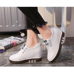 giày sneaker  nữ độn 7p da cao cấp 2 màu đen trắng