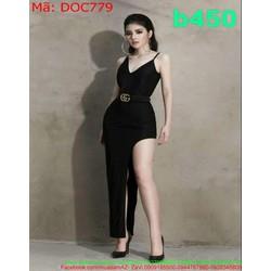 Đầm ôm body dự tiệc 2 dây thiết kế xẻ đùi cao 1 bên phong cách DOC779