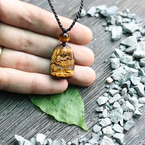 Mặt dây chuyền Phật A Di Đà đá mắt hổ 2x2.7 cm