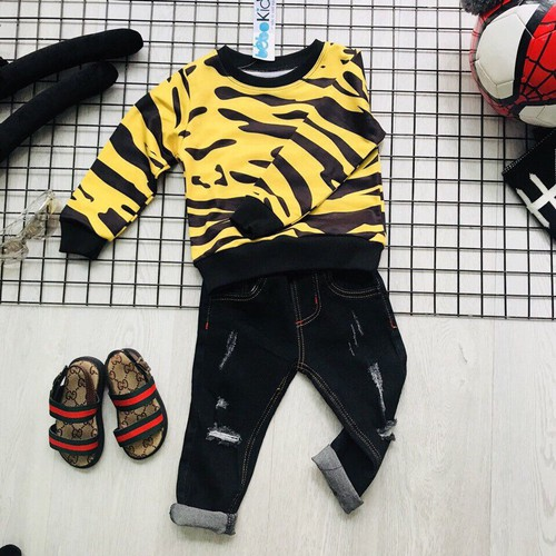 Đồ bộ tay dài cho bé trai jean sành điệu 9-24kg, thun cotton da cá, quần cotton jean mềm thoải mái.
