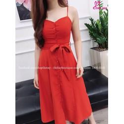 Đầm maxi đỏ 2 dây