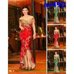 Đầm dạ hội thiết kế ôm cúp rớt vai chất liệu vải hoa đẹp DDH298