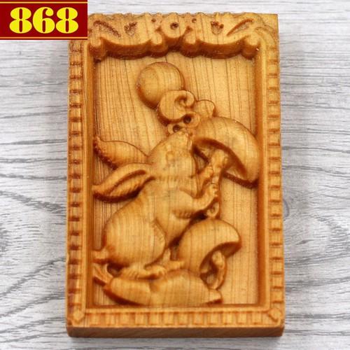 Mặt 12 giáp tuổi Mão gỗ hoàng đàn 6 cm