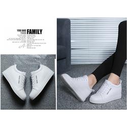 Giày SNK nữ da cao cấp độn 8p siêu mềm siêu nhẹ 2 màu đen ,trắng