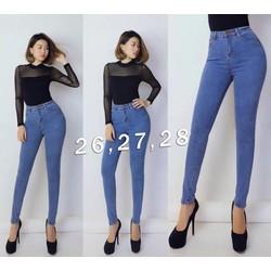Quần jean xanh lưng cao 1 nút Trang Axit