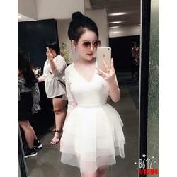 Đầm xòe ren trắng phối lưới