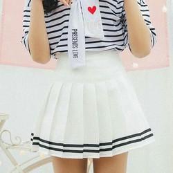 Chân váy tennis thủy thủ xếp ly viền trắng