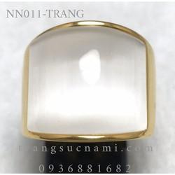 Nhẫn vàng đá mắt mèo nhiều màu