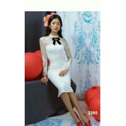 Đầm body trắng tay dài phối ren