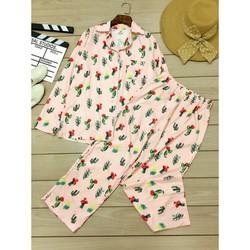 Set bộ dài hoạ tiết xương rồng áo pyjama và quàn dài