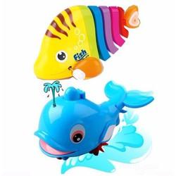 Bộ đồ chơi 1 cá sắc màu biết vẫy đuôi và 1 cá heo phun nước